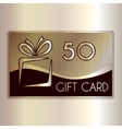 Abstract gift card for fifty in gold and vector