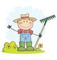 Gardening boy waving a greeting vector