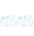 Starfish blue line art horizontal seamless pattern vector