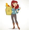 Woman with the health food package and phone vector