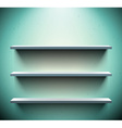 Three shelves on blue wall vector