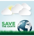 Save our earth blue and green poster template vector