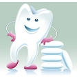 Joyful healthy tooth with shewing gum vector