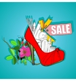 Poster the sale of womens shoes and cosmetics vector