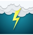 Lightning in the clouds on a blue background vector