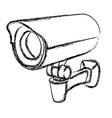 Black and white surveillance camera vector