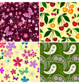 Set seamless spring patterns vector