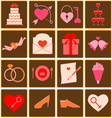 Wedding color icons on square button vector