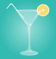 Martini glass with lemon vector