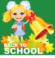 Smiling happy schoolgirl rings the bell vector