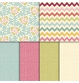 Colorful seamless patterns with fabric texture vector