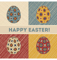 Easter card with 4 patterned eggs vector