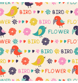 Seamless pattern of birds and flowers vector