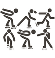 Roller skates icons vector