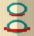 Retro labels with red ribbons vector