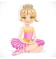 Beautiful ballerina girl in purple dress and tiara vector