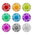Colorful casino chips on a white background vector