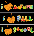 Autumnal heart is made of leaf vector