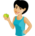 Black haired girl with an apple vector