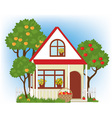 House and apple trees vector