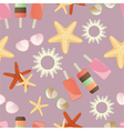 Summer sun starfish and icrecream vector
