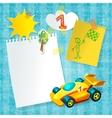 Toy racing car paper postcard template vector
