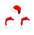 Three red santa claus hat vector