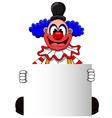 Cute clown cartoon with blank sign vector