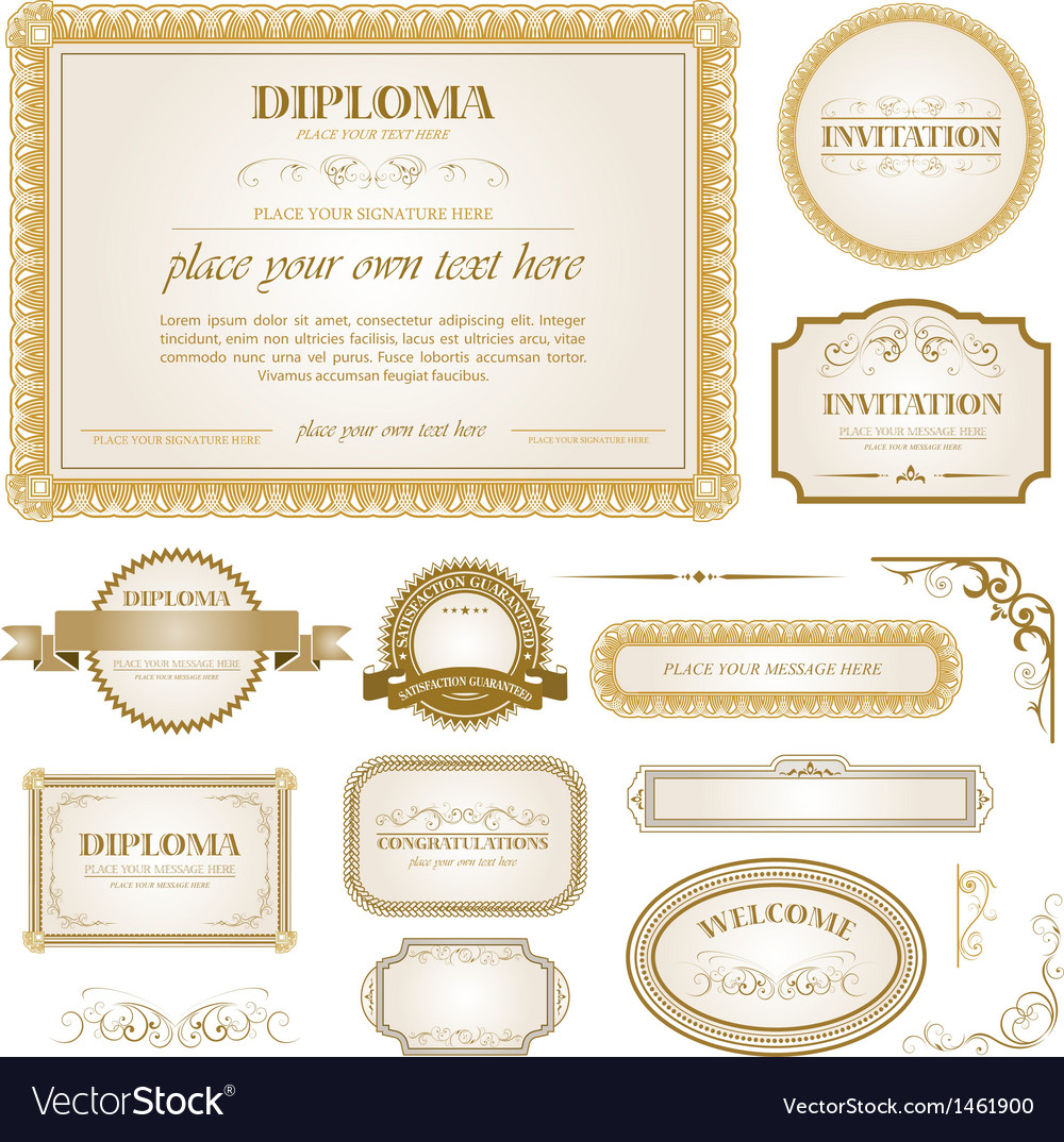 Diploma template with additional design elements vector | Price: 3 Credit (USD $3)