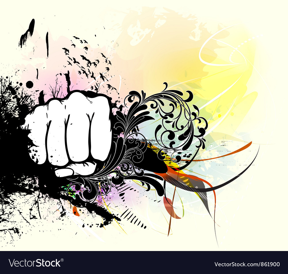 Fist with grunge vector | Price: 1 Credit (USD $1)