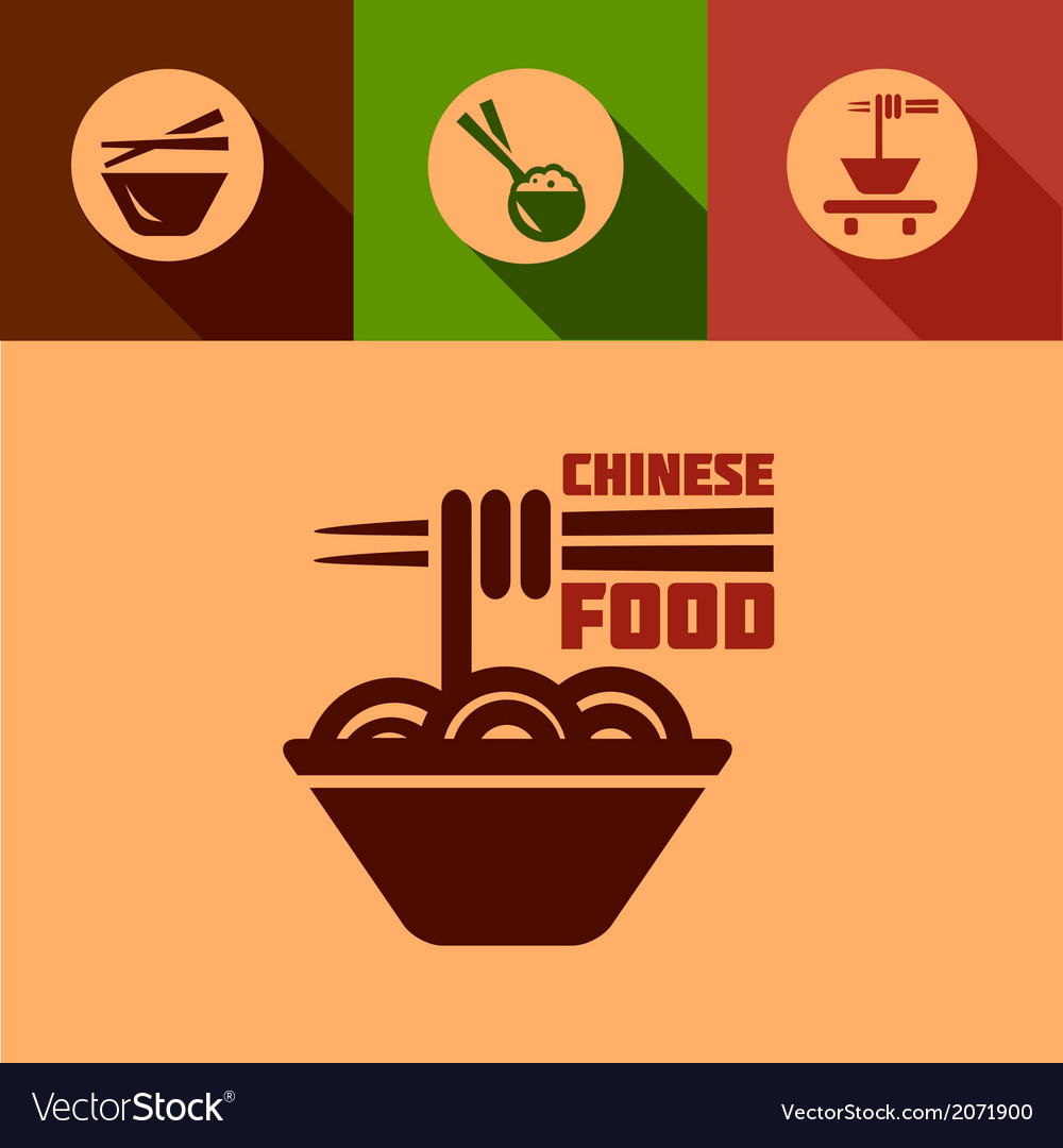 Flat chinese food icons vector | Price: 1 Credit (USD $1)