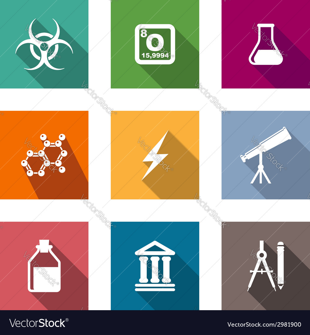 Flat science and education icons set vector | Price: 1 Credit (USD $1)