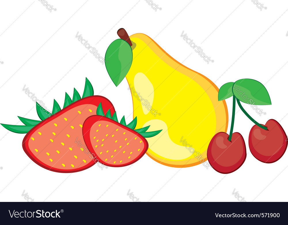 Fruit pear strawberry and cherry vector | Price: 1 Credit (USD $1)