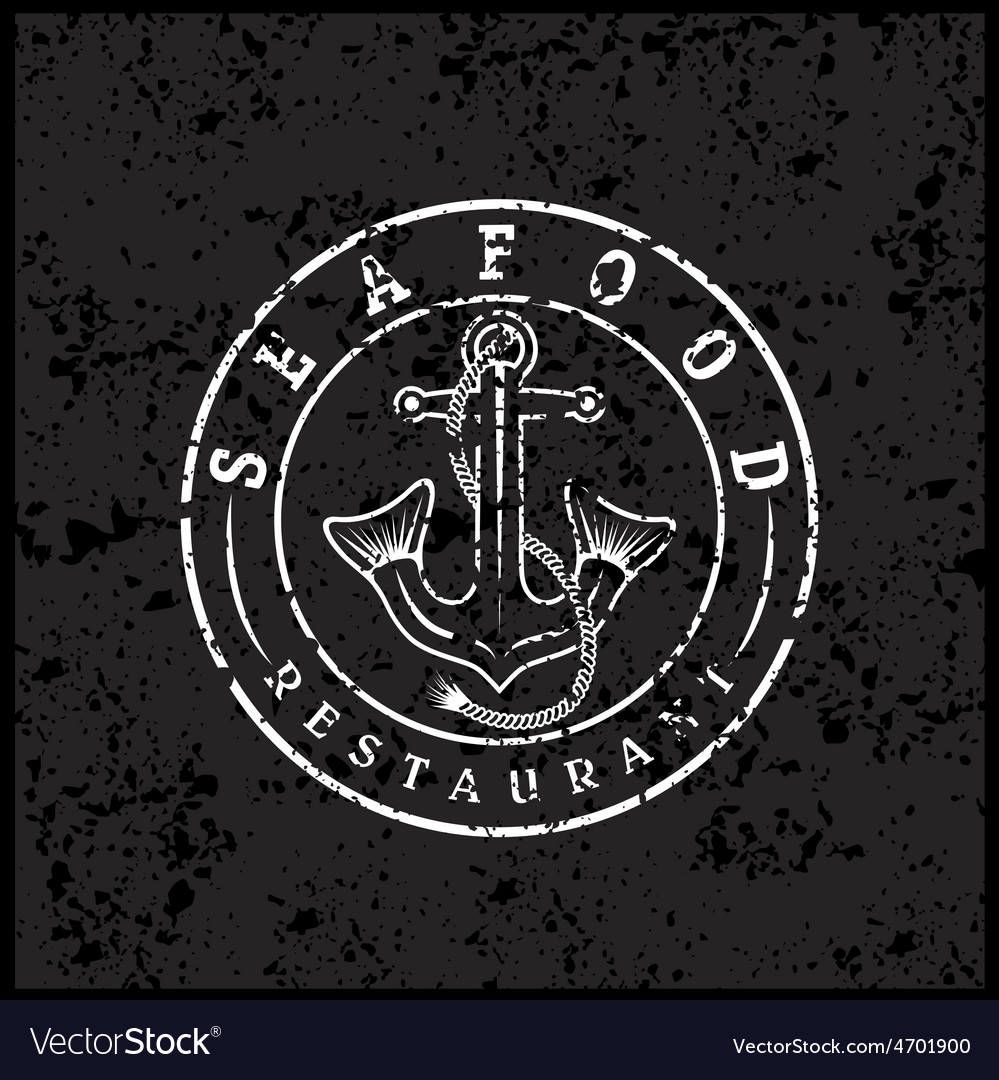 Grunge anchor with fish tails seafood restaurant vector | Price: 1 Credit (USD $1)