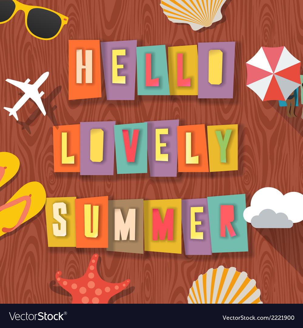 Hello lovely summer travelling background vector | Price: 1 Credit (USD $1)