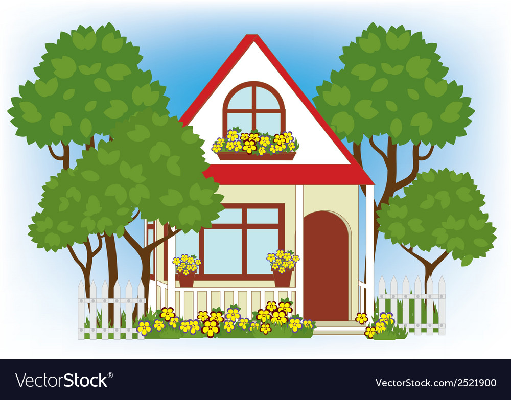 House in the garden vector | Price: 1 Credit (USD $1)