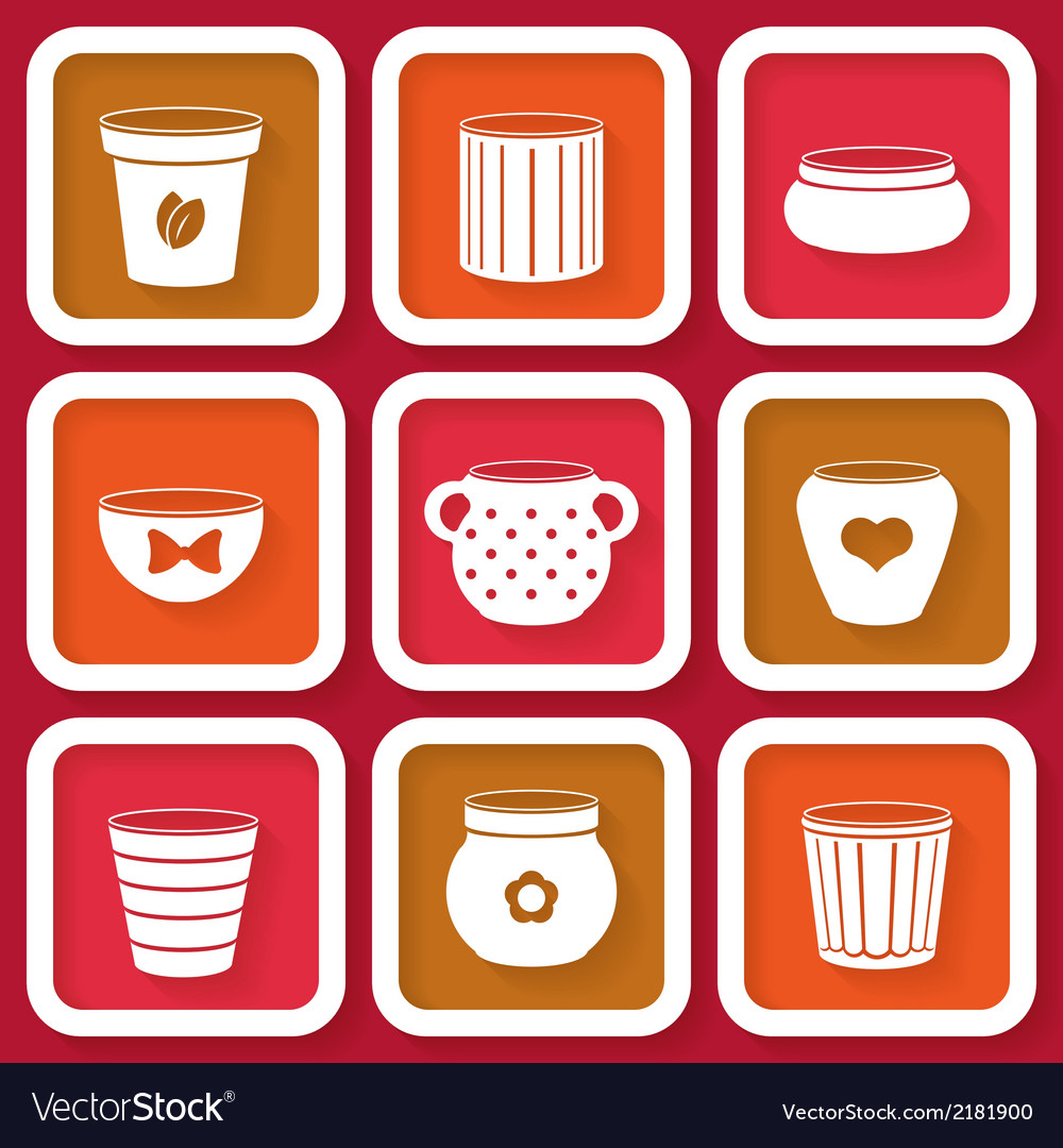 Set of 9 different icons with flower pots vector | Price: 1 Credit (USD $1)