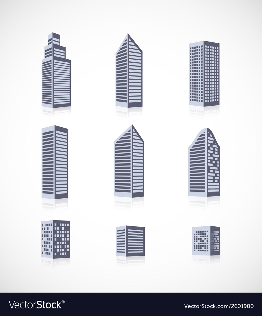 Set of buildings icons vector | Price: 1 Credit (USD $1)