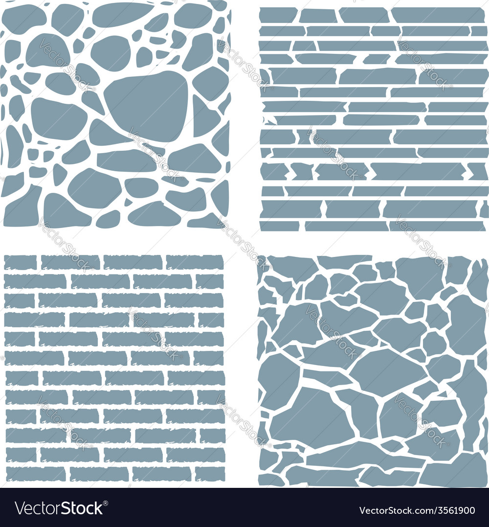 Stone and brick cladding texture set vector | Price: 1 Credit (USD $1)