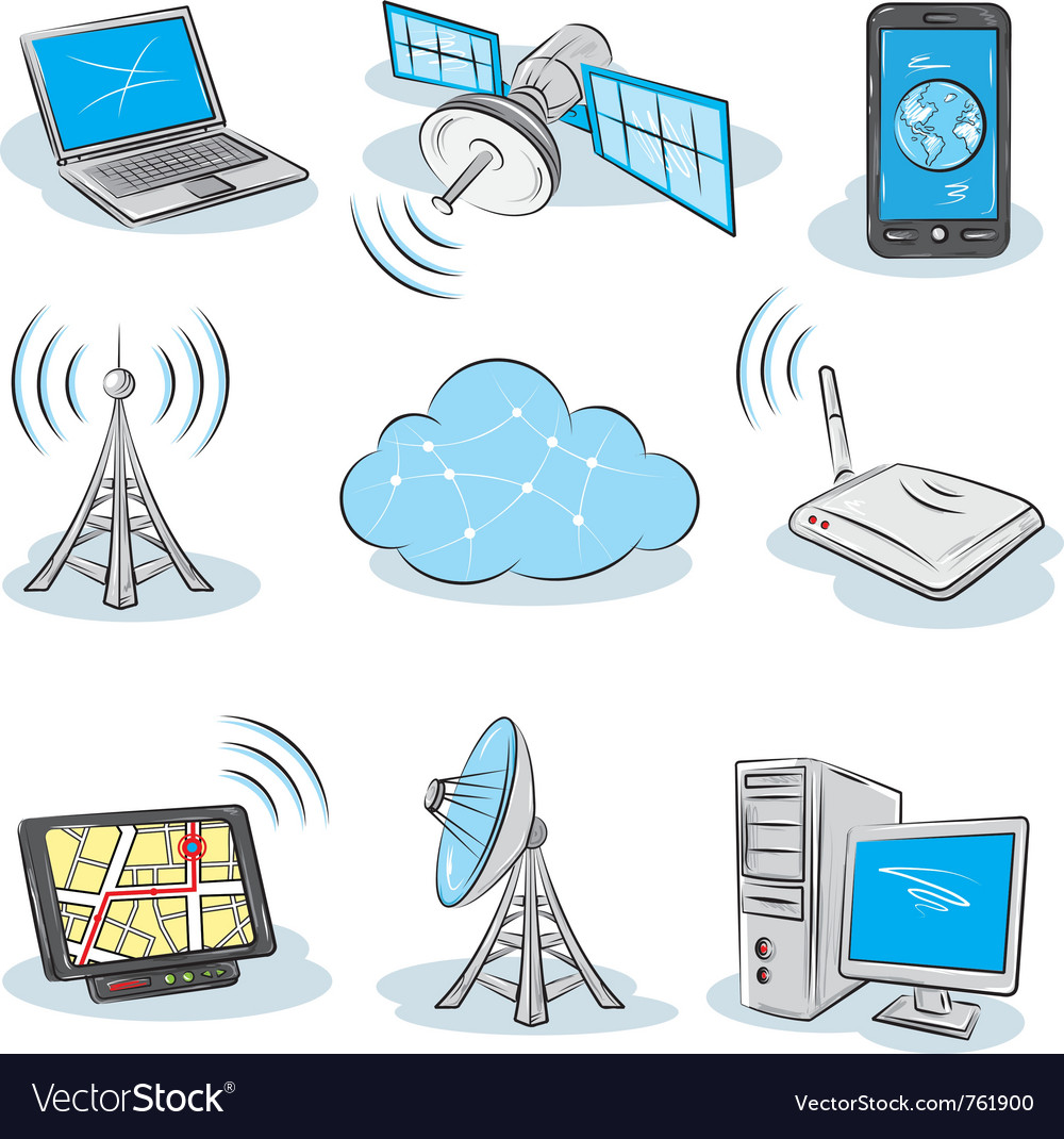Wireless technology icons vector | Price: 3 Credit (USD $3)