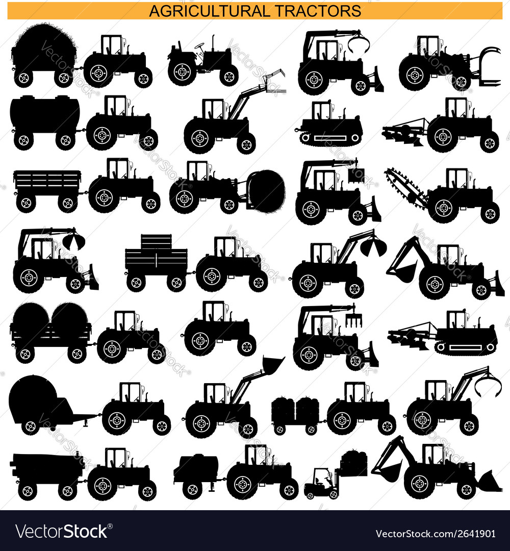 Agricultural tractor pictograms vector | Price: 1 Credit (USD $1)