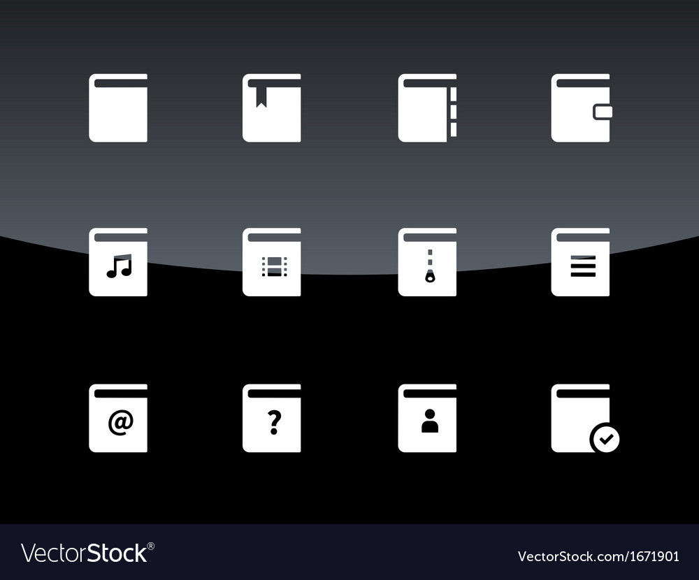 Book icons on black background vector | Price: 1 Credit (USD $1)