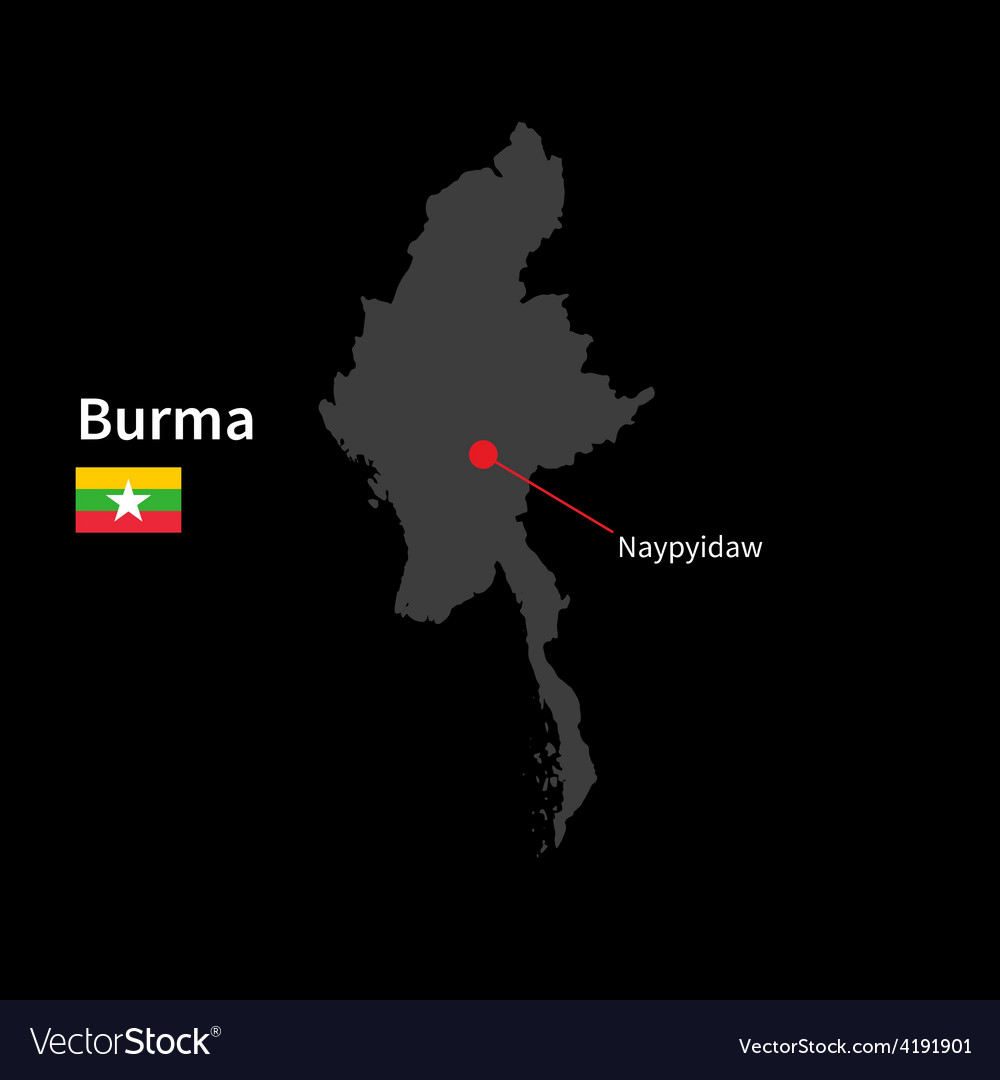 Detailed map of burma and capital city naypyidaw vector | Price: 1 Credit (USD $1)