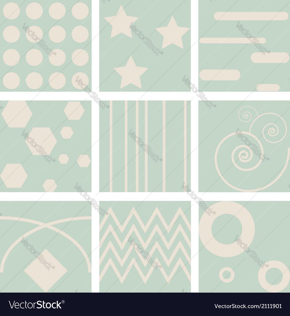 Nine retro seamless pattern vector | Price: 1 Credit (USD $1)