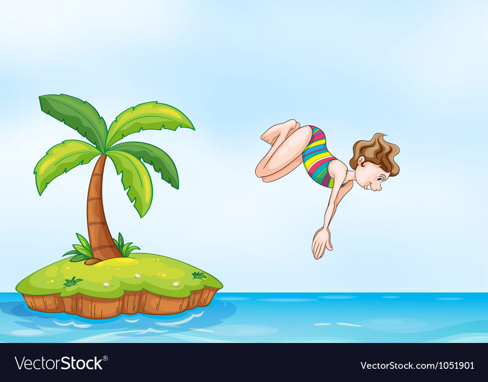 Palm tree girl diving on island vector | Price: 3 Credit (USD $3)