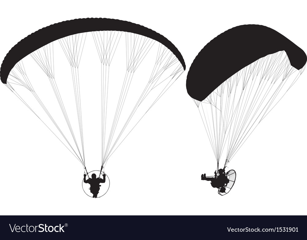 Paraglider with paramotor silhouette vector | Price: 1 Credit (USD $1)