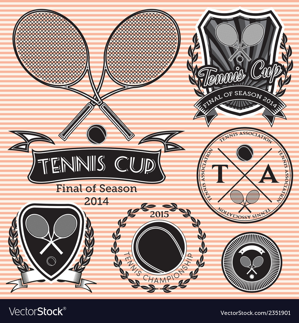 Set of emblems on big tennis vector | Price: 1 Credit (USD $1)