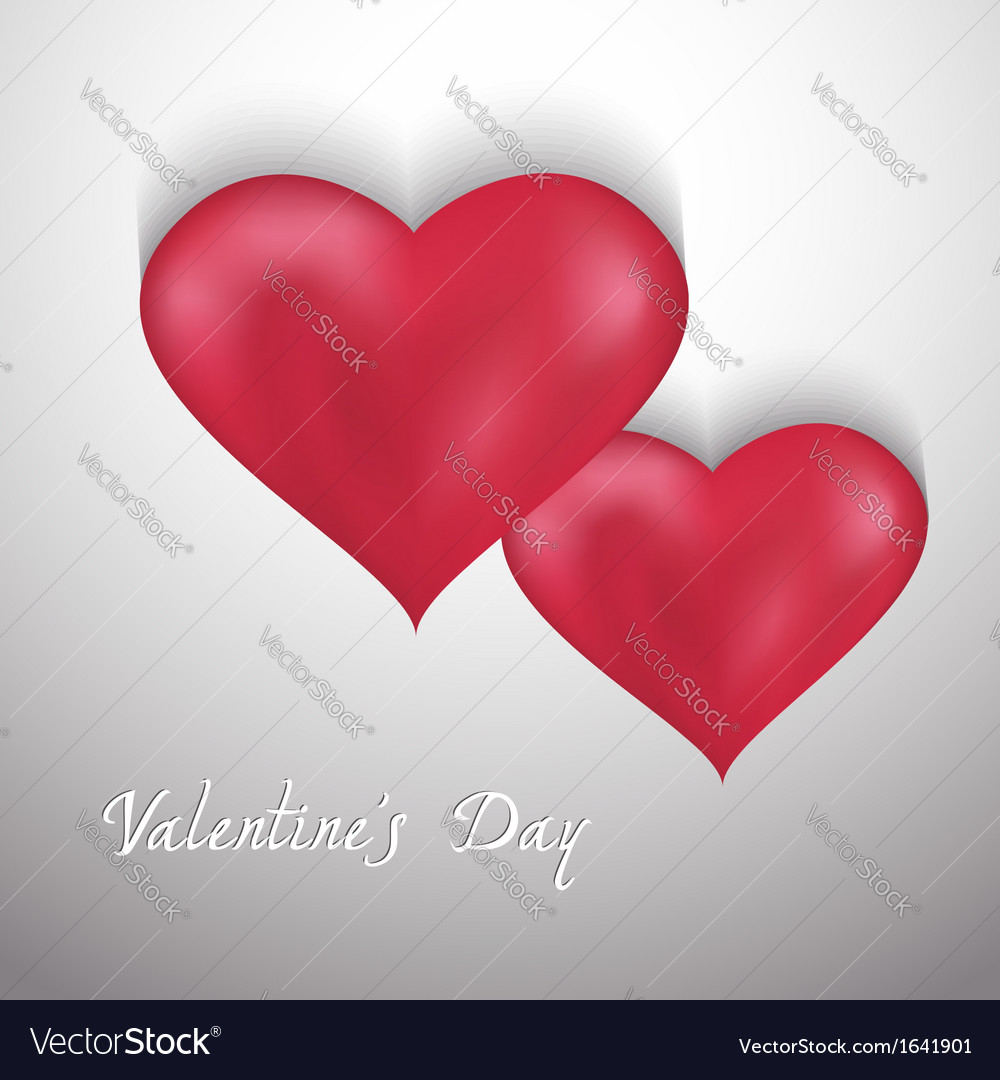 Valentines day background with two hearts vector | Price: 1 Credit (USD $1)