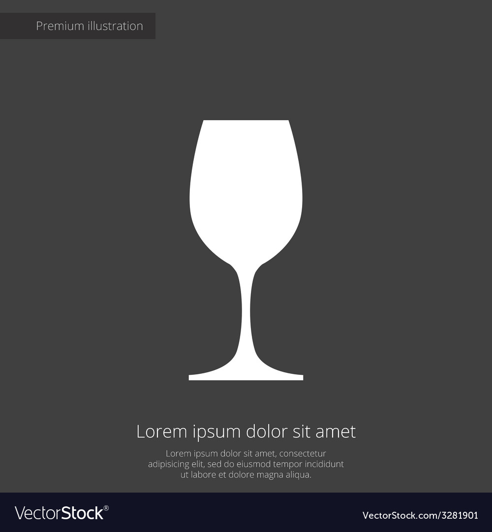 Wineglass premium icon white on dark background vector | Price: 1 Credit (USD $1)