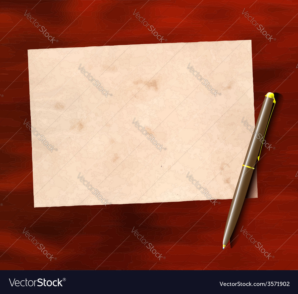 Aged paper and pen vector | Price: 1 Credit (USD $1)